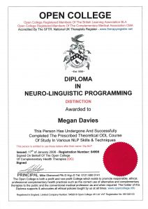 Diploma in NLP. Your Life Coach Meg Wadsworth.